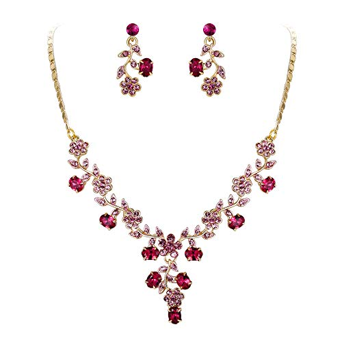 EVER FAITH Flower Leaf Necklace Earrings Set Austrian Crystal Gold-Tone - Pink -