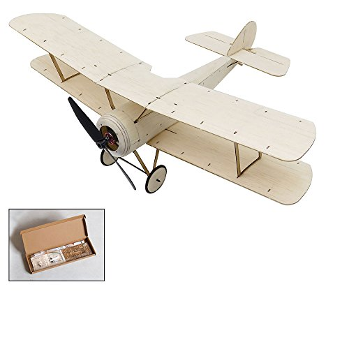 (Dancing Wings Hobby Balsa wood Micro indoor 3CH Electric Biplane Sopwith Pup 378mm wingspan by DW Hobby; Remote Control Balsa Laser-cutting KIT to Build for Adults (K0601))