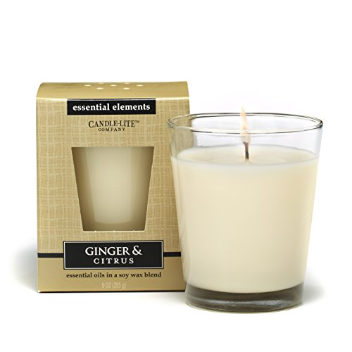 - CANDLE-LITE Essential Elements 9-Ounce Boxed Jar Candle with Soy Wax, Ginger and Citrus