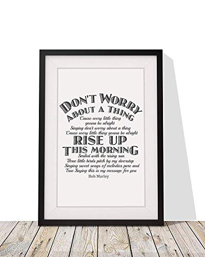 Bob Marley 'Three Little Birds Don't Worry About A Thing' Song Lyrics Framed Print with Mount | 12x10 Inch Wall Art Décor | Gift Idea for Birthdays Christmas or Any -