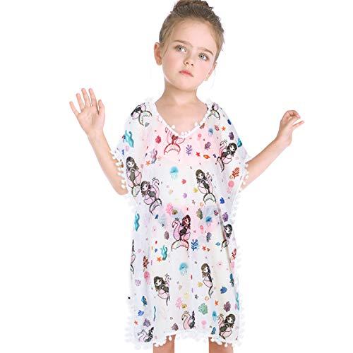 (Kid Girls Chiffon Unicorn Cover-up Rainbow Beach Swimsuit Coverup Pompom Tassel (Mermaid, Age: 7-10 Years) )