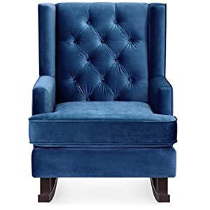 Best Choice Products Tufted Luxury Velvet Wingback Rocking Accent Chair, Living Room Bedroom w/Wood Frame - Royal Blue