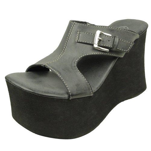 Womens Platform Sandals Eyelet Cutout Side Buckle Gray SZ 9