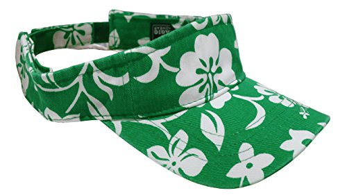 Magic Headwear Washed Hawaiian Floral Pattern Cotton Visor (Kelly Green)