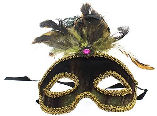 Safari Eye Venetian Mardi Gras Mask w/Peacock Feathers: Brown ()