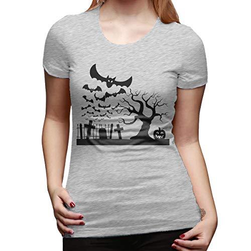 Halloween Graveyard Desserts (PORRO Custom Halloween Graveyard Bats Pumpkin O-Neck Funny Shirt for Girl Gray)