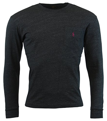 Polo Ralph Lauren Mens Long Sleeve Pocket Logo T-Shirt - L - Black Heather