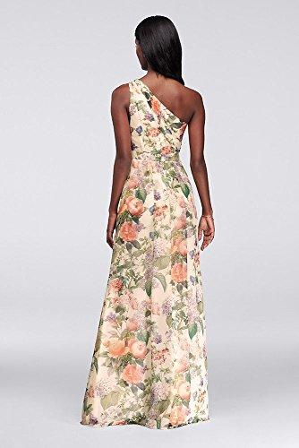 Long One Shoulder Printed Chiffon Bridesmaid Dress Style F18055P, Floral.