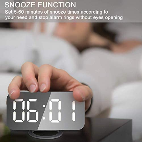 Viktle Large Display Alarm Clock, Digital Clock Large 6.5 Easy-Read LED Display, Diming Mode, Easy Snooze Function, Mirror Surface, Dual USB Charger Ports