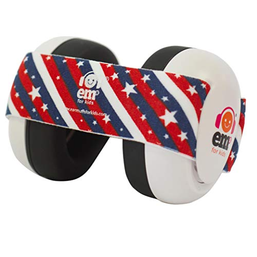 Ems for Kids Baby Earmuffs - White with Stars n Stripes. Made in The U.S.A! The Original and ONLY Earmuffs Designed specifically for Babies Since 2009 -