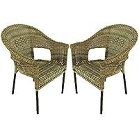 Edenjardi Pack 2 sillones de Exterior de Aluminio y ratán sintético Color Natural, Apilable, Diseño rústico, Tamaño…