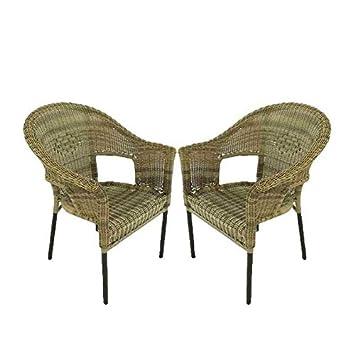 Edenjardi Pack 2 sillones de Exterior de Aluminio y ratán sintético Color Natural | Apilable | Diseño rústico | Tamaño: 62x66x86 cm | Portes Gratis