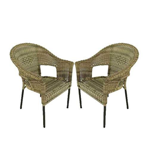 Edenjardi Pack 2 sillones de Exterior de Aluminio y ratán sintético Color Natural, Apilable, Diseño rústico, Tamaño: 62x66x86 cm