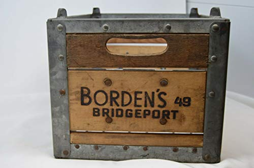 (MINT 1949 BORDEN'S MILK Bridgeport CT DAIRY CRATE Embossed STEEL CORNER BRACKETS)