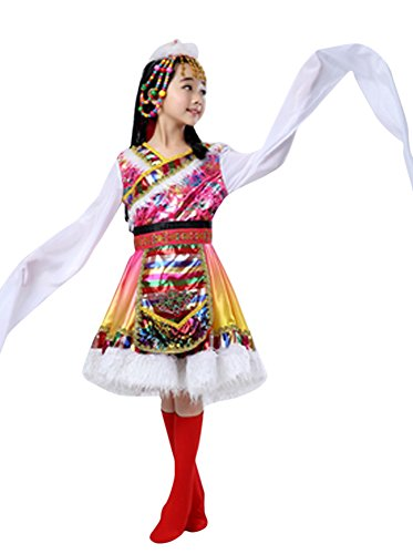 CRB Fashion Girls Kids Ladies Mongolia Asian Princess Outfit Costume with Headpiece (Height 165cm, Long Sleeves (Mongolian Costume)