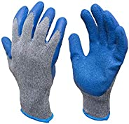 G & F 3100L-DZ Knit Work Gloves,  Textured Rubber Latex Coated for Construction, 12-Pairs, Men'