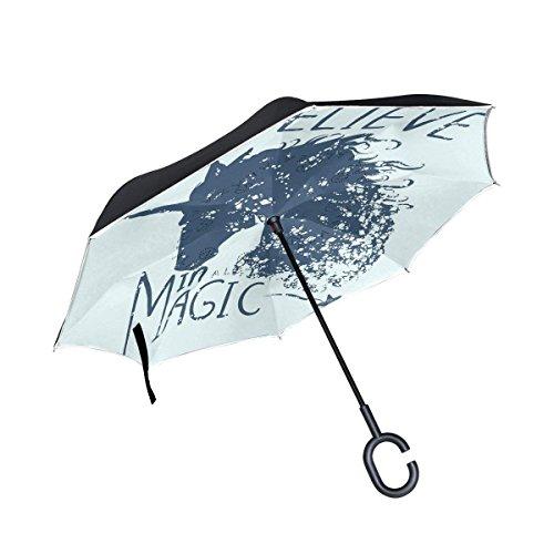 Ladninag Inverted Reverse Umbrella Unicorn Black White Windproof For Car Rain Outdoor