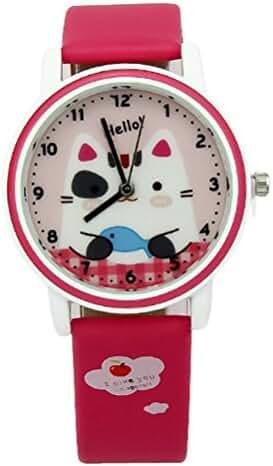 Fq-142 PU Synthetic Leather Strap Cartoon Cats Fish Girls Boys Kids Quartz Wrist Watches Plum Red