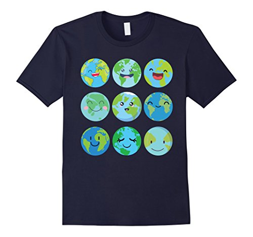 Men's Emoji Emotion Cute Earth Smile Faces Earth Day T-Shirt Gift Small Navy