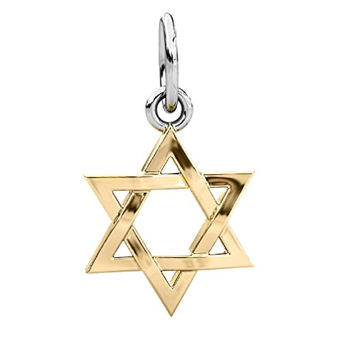 Authentic BELLA FASCINI Star of David Dangle Bead Charm - Silver 14K Gold Vermeil - Fits Bracelets by BELLA FASCINI