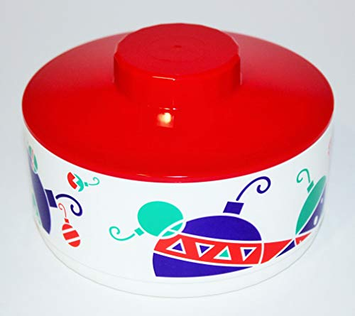 Tupperware Candy Dish Bowl with Red Lid and Ornaments Design