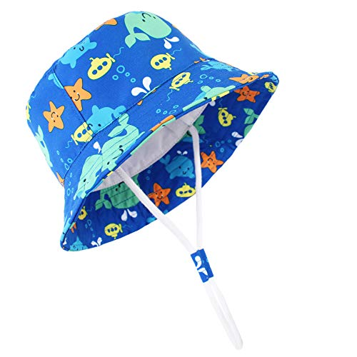 Durio Baby Hat Cute Baby Girl Sun Hats UPF 50+ Summer Toddler Bucket Hat Sun Protection Baby Boy Gifts Kids Blue Fish 20.5