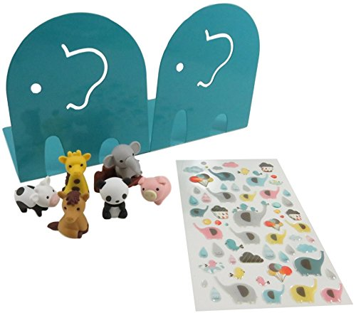 Kids Fun Elephant Non-Skid Metal Bookends 4.5 x 4.75 Inches (Aqua) with Elephant Stickers and Mini Puzzle Erasers Elephant Giraffe Panda Horse Pig Cow Logs (Set of 3)