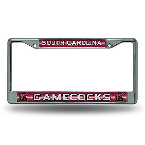 (NCAA South Carolina Gamecocks Bling Chrome License Plate Frame with Glitter Accent)