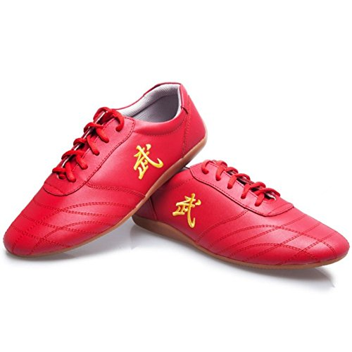 Leather Tai Chi Shoes Martial Arts Kung fu Shoes Chi Kung Shoes Martial Arts Boxing Shoes (Red, US10.5 // EUR 46 // Foot Length 28CM)