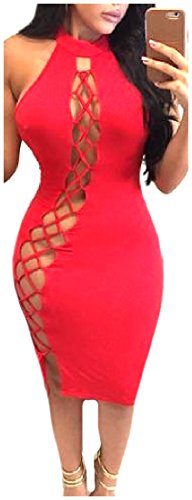 Red Women's Solid Hollow Mini Out Bodycon Dress Bandage Clubwear Coolred zdRqfww