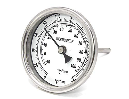 "K&B Beer Brew Thermometer - 3"" Dial Face, 6"" Stainless Probe"
