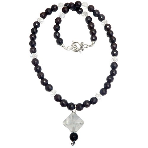 Polished Faceted Clear Quartz Crystal (Satin Crystals Quartz Clear Necklace Boutique Merkaba Star Genuine Gemstone Faceted Chalcedony Beaded Handmade B03 (18))