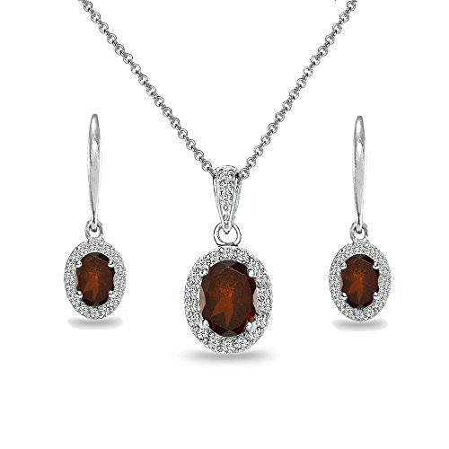 Sterling Silver Garnet & White Topaz Oval Halo Necklace & Leverback Earrings Set