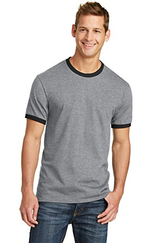 Company T-shirt Ringer - Port & Company PC54R 100% Cotton Ringer Tee - Athletic Heather/Jet Black - XL