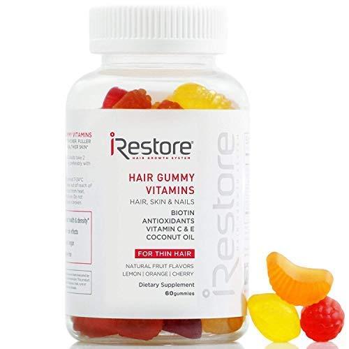 (iRestore Hair Gummy Vitamins with Biotin, Vitamins C & E, Coconut Oil, Turmeric - Vegan, Gluten Free, Natural Hair Growth, Skin & Nails Supplements - For Men &)