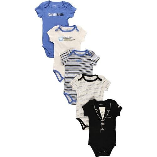 "Calvin Klein ""Well Liked"" 5-Pack Bodysuits - white/blue, 6 - 9 months"