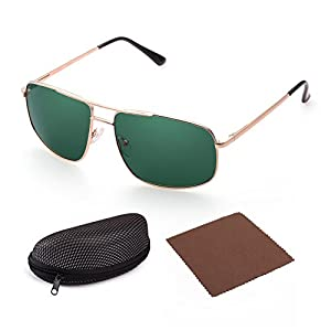 Polarized Sunglasses for Men by LotFancy, Gold Metal Frame, Sqaure Green Lens