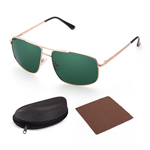 Polarized Sunglasses for Men by LotFancy, Rectangular Gold Metal Frame, Green Lens, UV - Designer Sunglasses Green