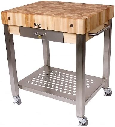Amazon Com John Boos Cucina Americana Technica Kitchen Cart With Butcher Block Top Counter Top Height 4 Drawers 1 Included Kitchen Islands Carts