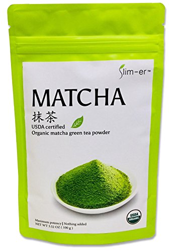 Slim-er Matcha Green Tea Powder - USDA Certified Organic, Premium Culinary Grade, No Sugar, No Food Coloring, No flavor. 100grams