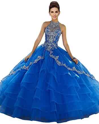 5c2bd6292d3 Fannydress High Neck Princess Ruffles Prom Quinceanera Dresses for Girls  Embroidery Beading Crystal Sweet 15 Dress