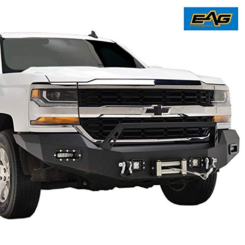 - EAG Front Winch Bumper With LED Lights for 16-18 Chevy Silverado 1500