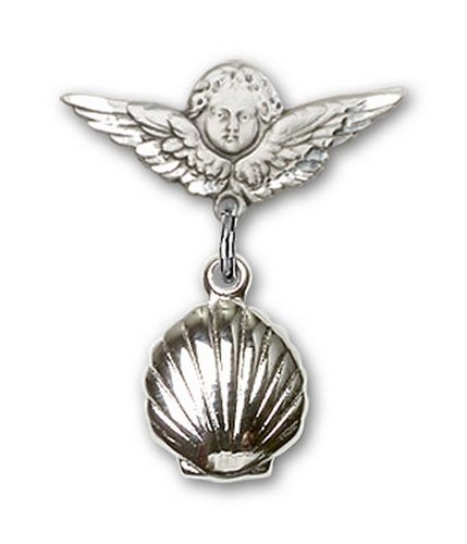 Icecarats Créatrice De Bijoux En Argent Sterling Shell Charme Ange Pin Badge 7/8 X 3/4