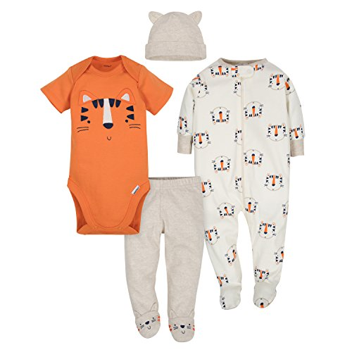 Gerber Baby Boys' 4-Piece Sleep 'N Play, Onesies, Pant and Cap, Happy Tiger, 6-9 Months ()