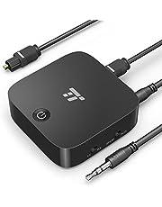 TaoTronics Adaptador Bluetooth 5.0 Transmisor Receptor 2 en 1 (15 Horas aptX Baja latencia en Modo TX Adaptador RCA Jack 3,5 mm Óptico Digital TOSLINK Empareja 2 receptores) para en Coche y Hogar