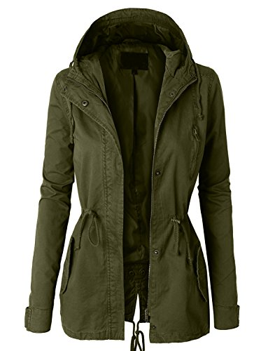 - LE3NO Womens Military Anorak Safari Jacket with Pockets, Olive Green, Small