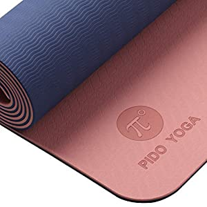 PIDO TPE Yoga Mat ECO Friendly SGS Certified Non Slip Yoga Mats with Carrying Strap 72″x24″ Extra Thick 1/4″ for Yoga Pilates Floor Fitness Exercise Best Gift Home Workout