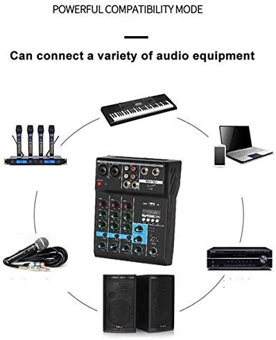 Elikliv Mini Audio Mixing Studio Quality 4 Channel Bluetooth Digital Mixer Audio Mixing DJ Console with Reverb Effect for Home Karaoke USB Live Stage