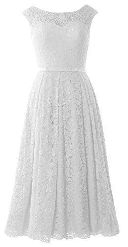 Length Gown Sleeve Caps Formal Lace Wedding Cocktail MACloth Dress Tea Weiß Party WfaqHqZc