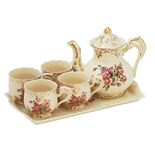 Red Rose Pattern Ivory Ceramic Tea Set,Luxury Tea Pot and Tea Cups with Tray Service for 4 People